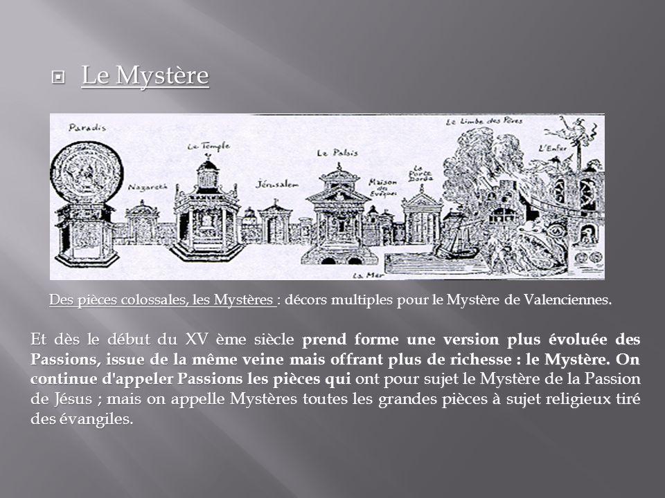 Le Mystère Des pièces colossales, les Mystères : décors multiples pour le Mystère de Valenciennes.