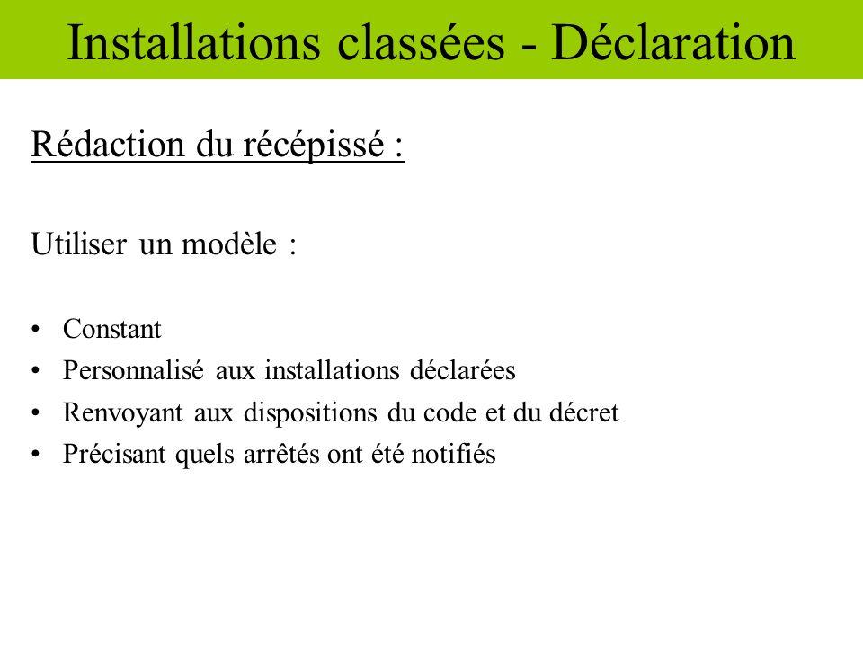 Installations classées - Déclaration
