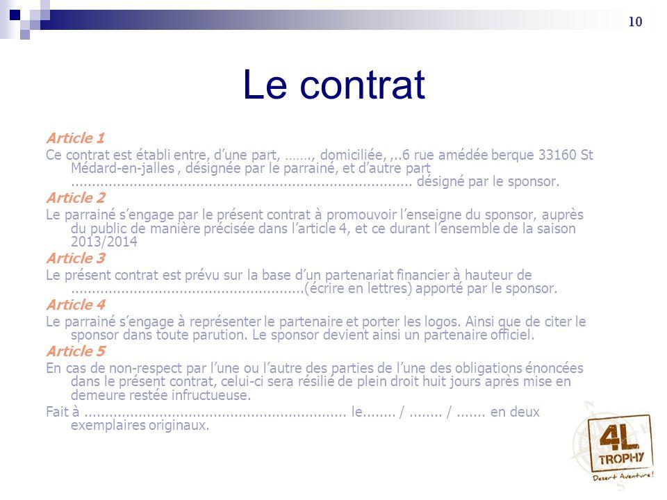 Le contrat Article 1.