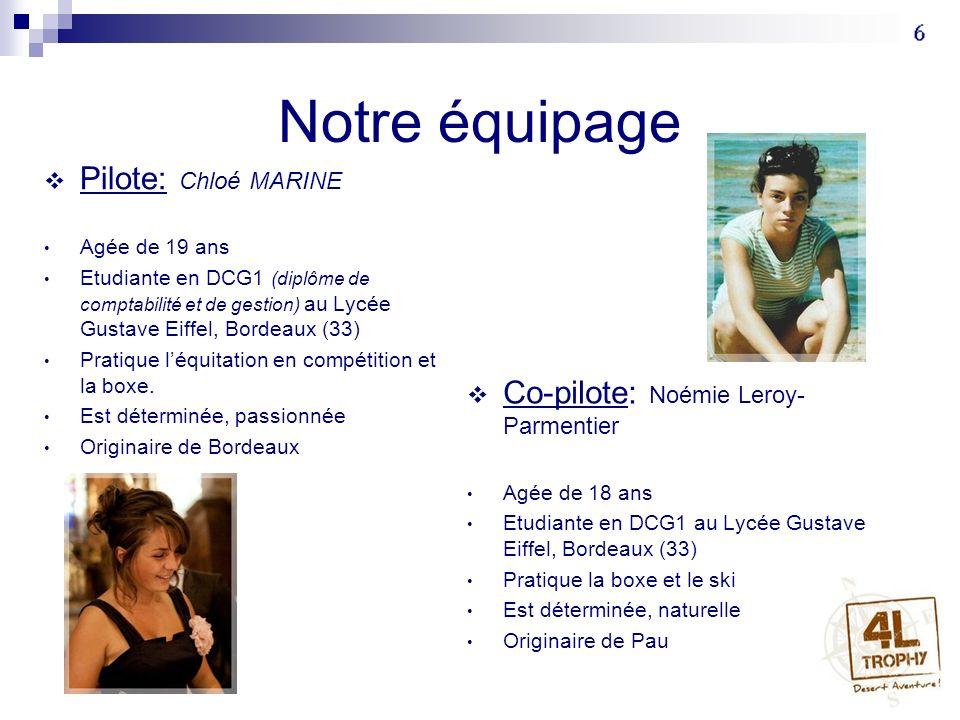 Notre équipage Pilote: Chloé MARINE Co-pilote: Noémie Leroy-Parmentier