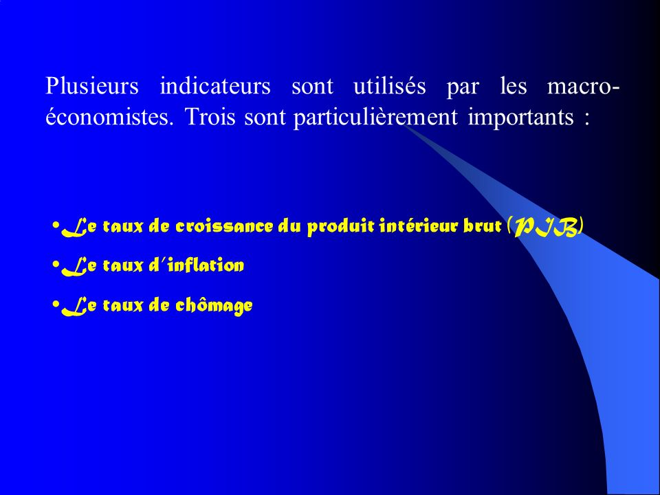 Les indicateurs macro conomiques ppt video online for Definition du produit interieur brut