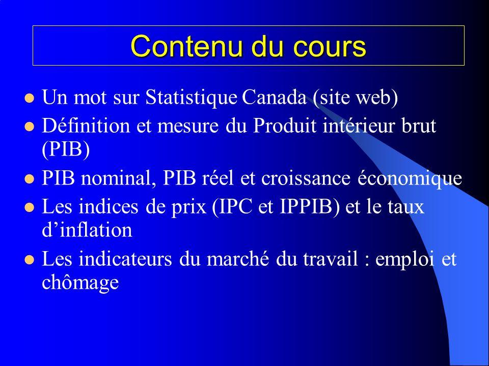 Contenu du cours Un mot sur Statistique Canada (site web)