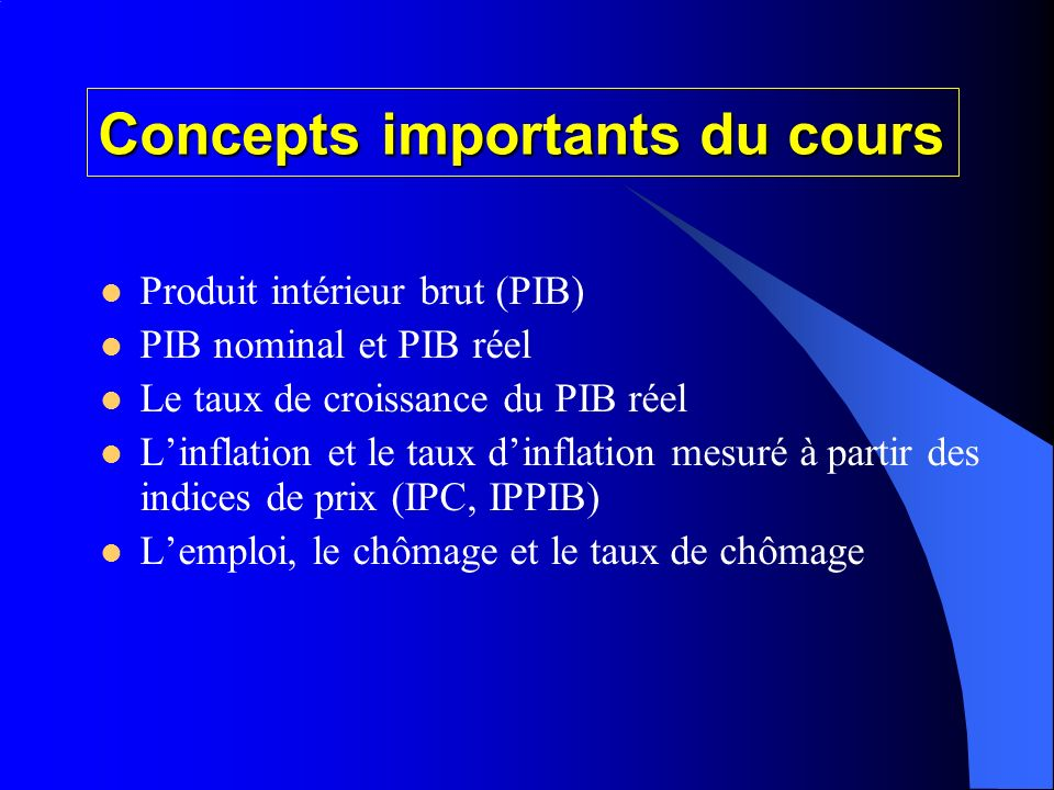 Concepts importants du cours
