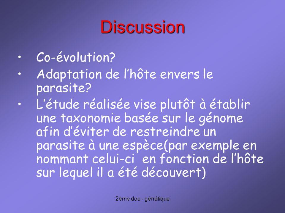 Discussion Co-évolution Adaptation de l'hôte envers le parasite
