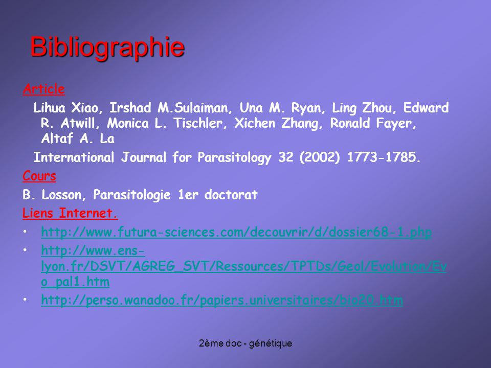 Bibliographie Article