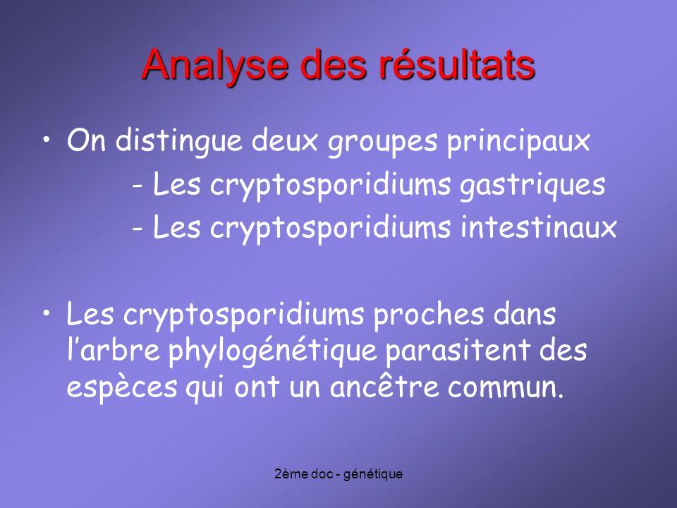 Analyse des résultats On distingue deux groupes principaux