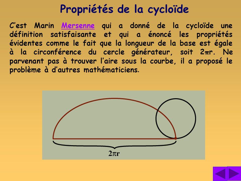 Propriétés de la cycloïde
