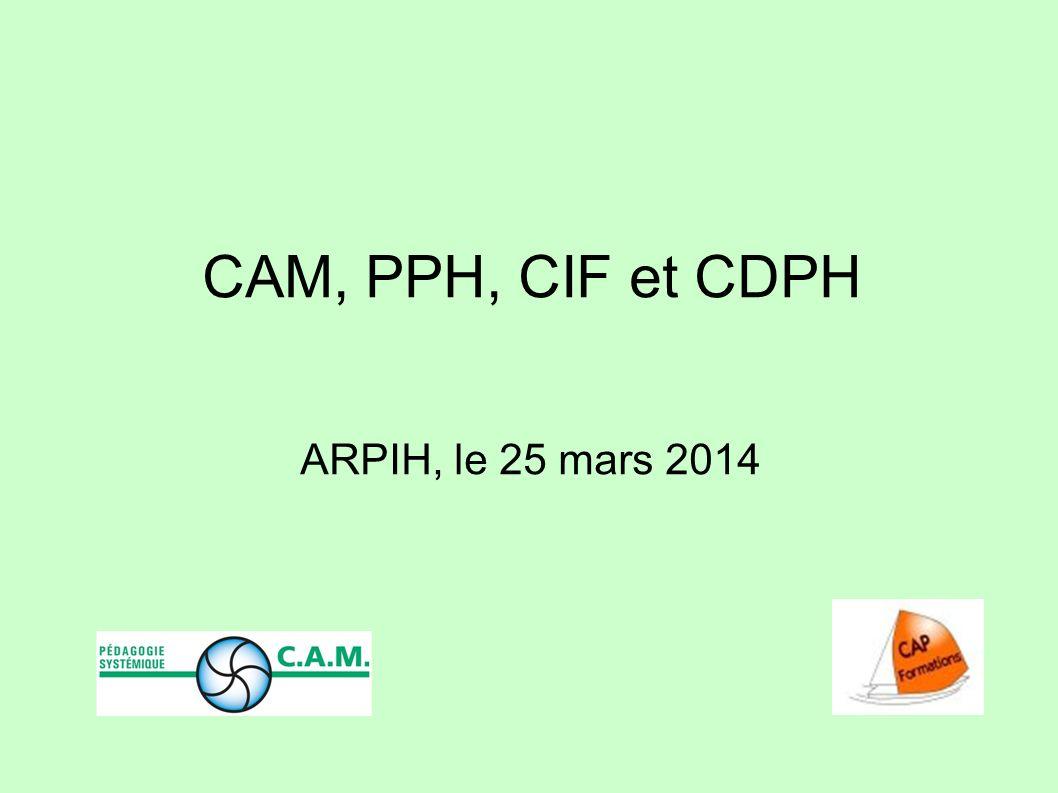 CAM, PPH, CIF et CDPH ARPIH, le 25 mars 2014 1