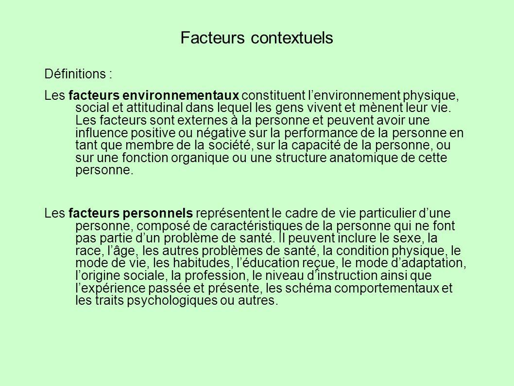 Facteurs contextuels Définitions :
