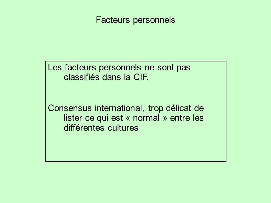 Facteurs personnels Les facteurs personnels ne sont pas classifiés dans la CIF.