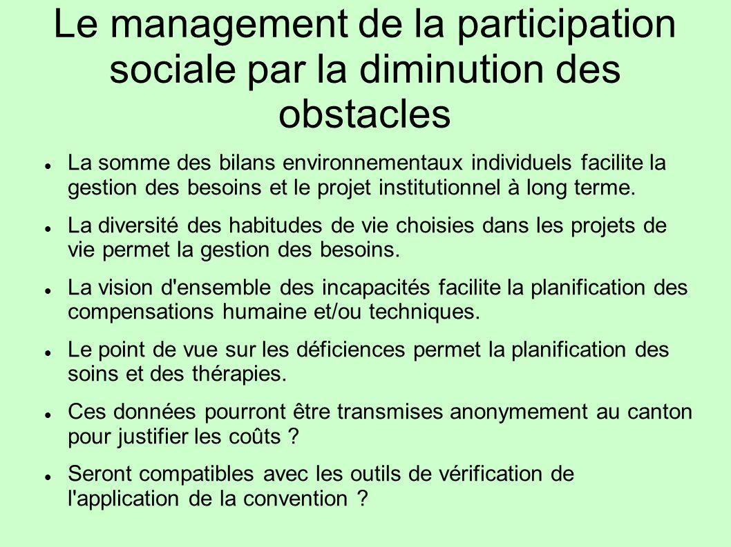 Le management de la participation sociale par la diminution des obstacles