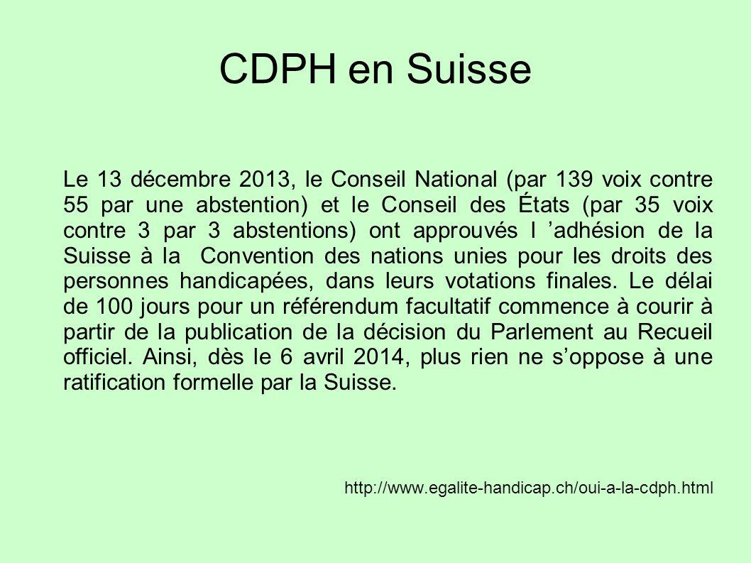CDPH en Suisse
