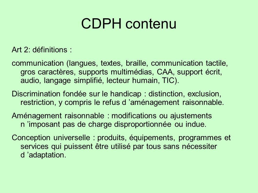 CDPH contenu Art 2: définitions :