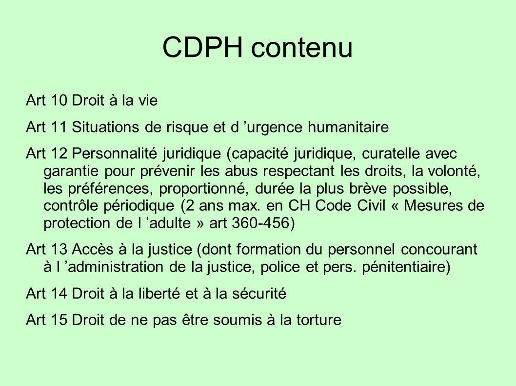CDPH contenu Art 10 Droit à la vie