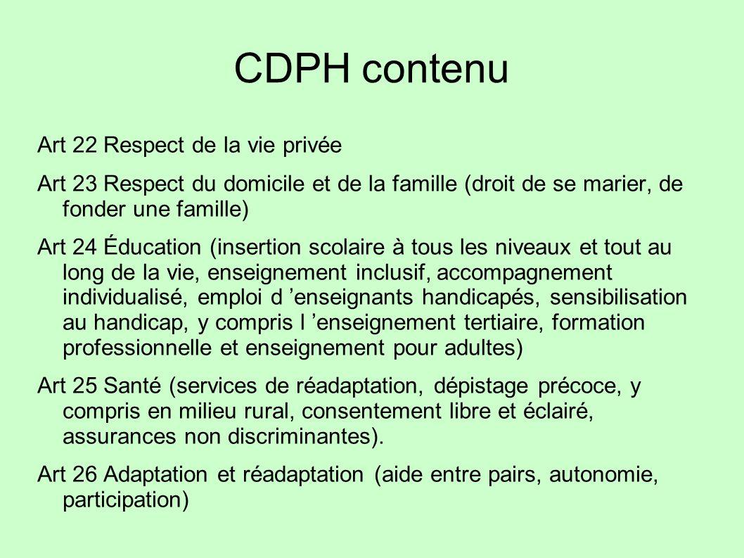 CDPH contenu Art 22 Respect de la vie privée