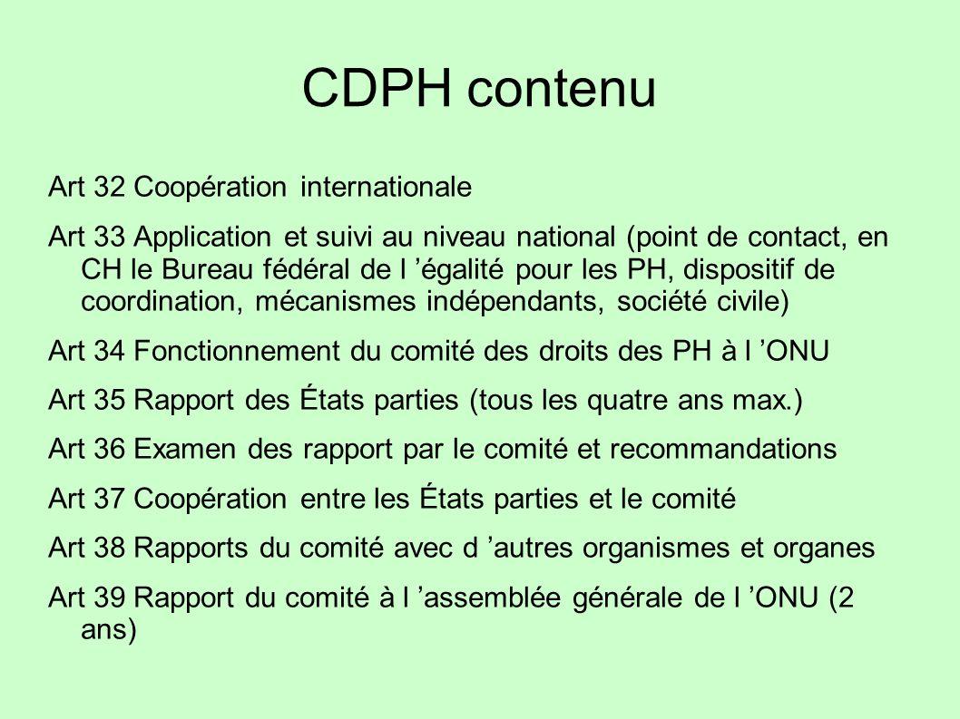 CDPH contenu Art 32 Coopération internationale
