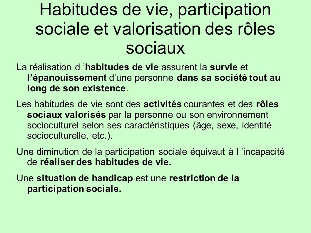 Habitudes de vie, participation sociale et valorisation des rôles sociaux