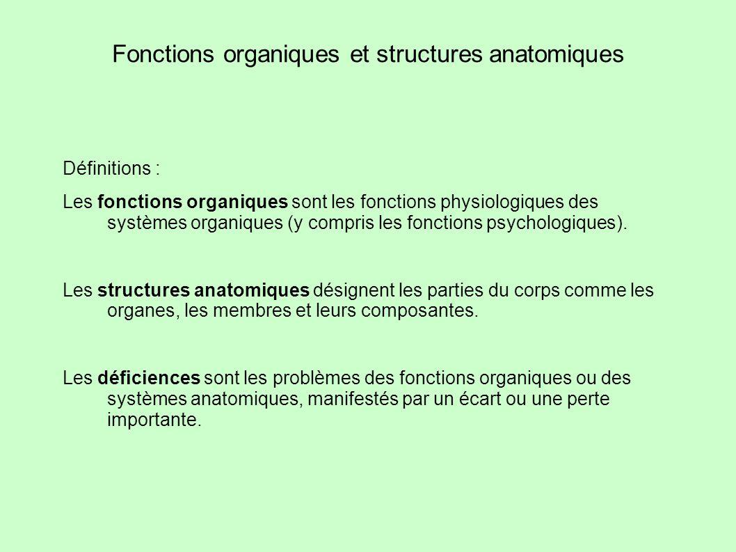 Fonctions organiques et structures anatomiques