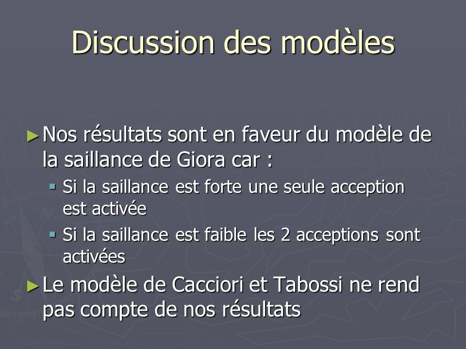 Discussion des modèles