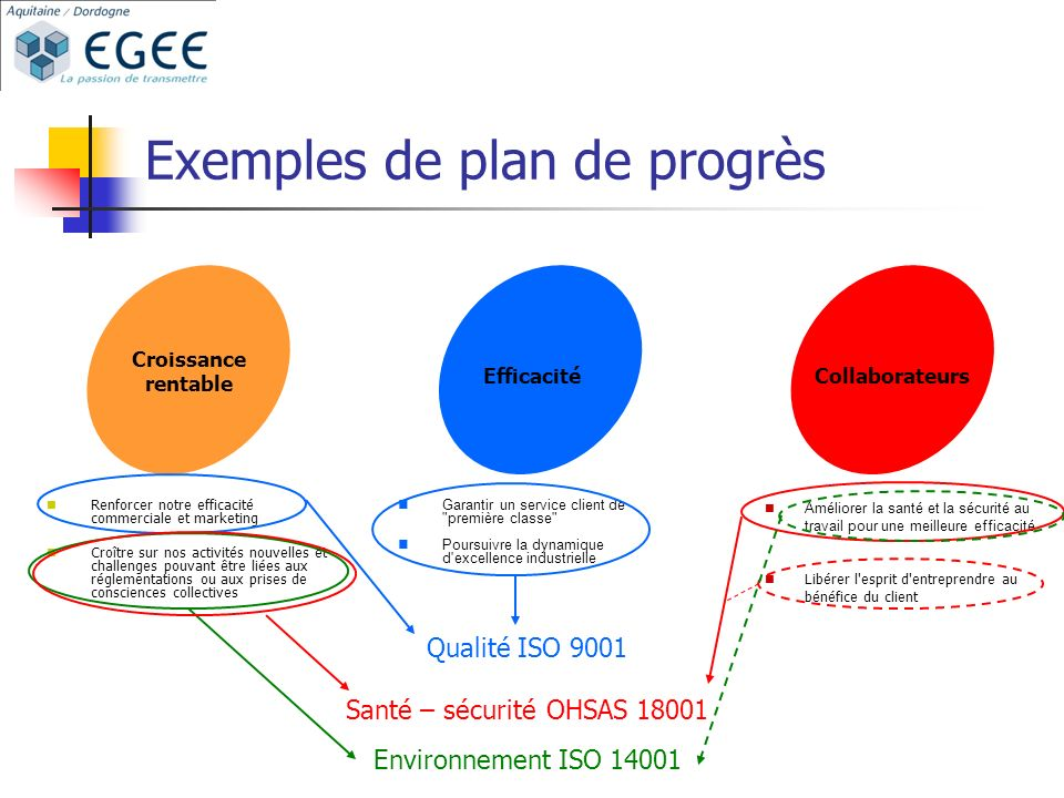 Exemples de plan de progrès