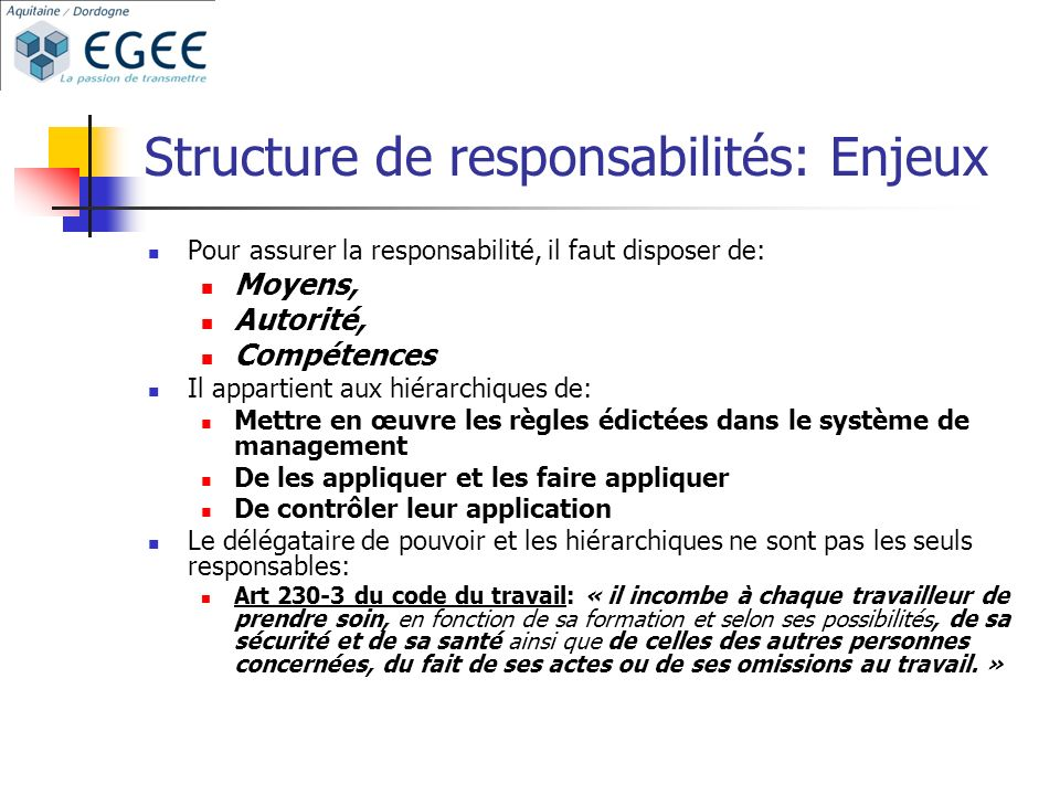 Structure de responsabilités: Enjeux