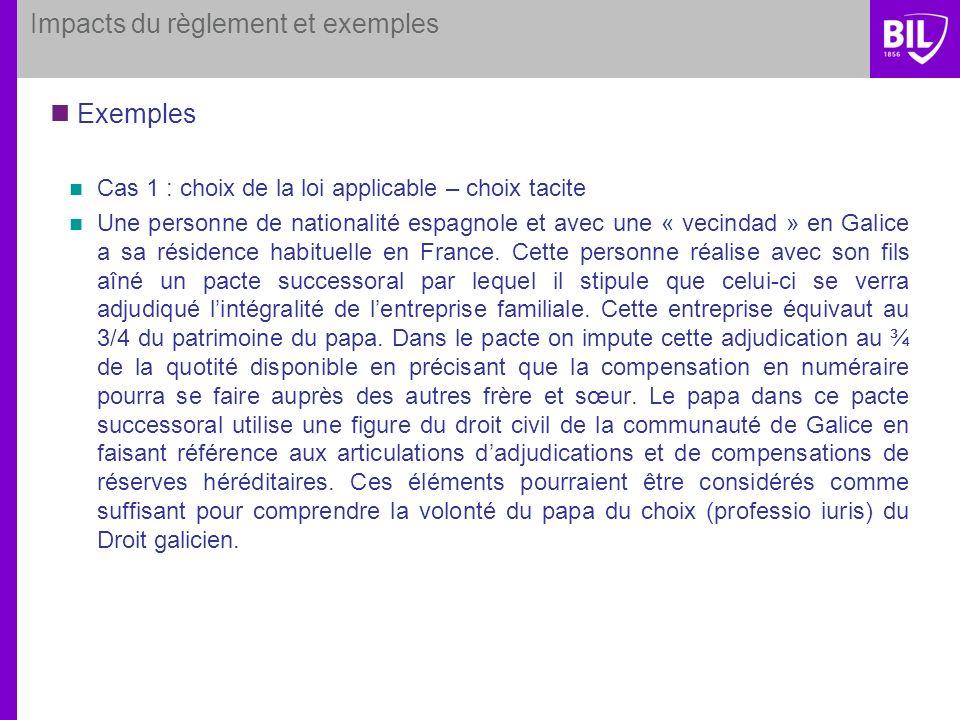 Impacts du règlement et exemples