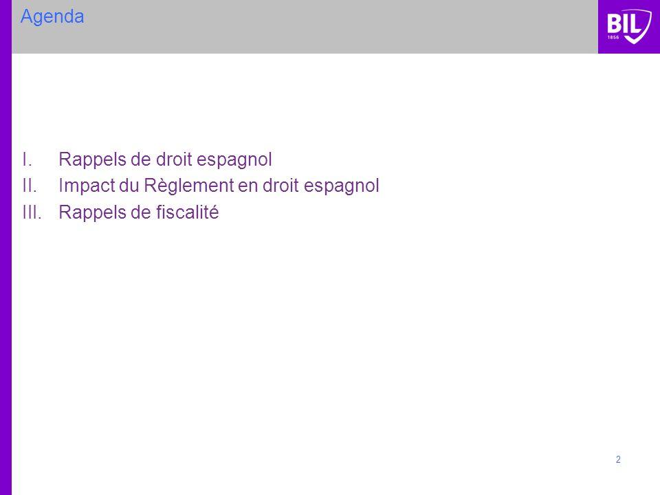Agenda Rappels de droit espagnol Impact du Règlement en droit espagnol Rappels de fiscalité
