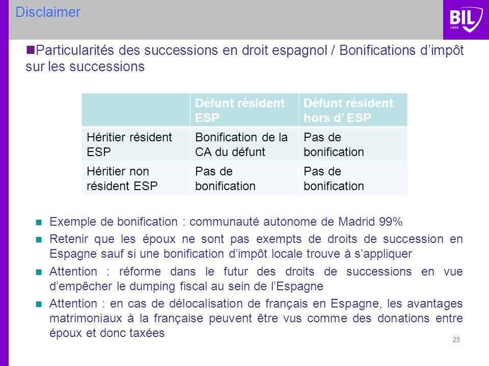 Disclaimer Particularités des successions en droit espagnol / Bonifications d'impôt sur les successions.
