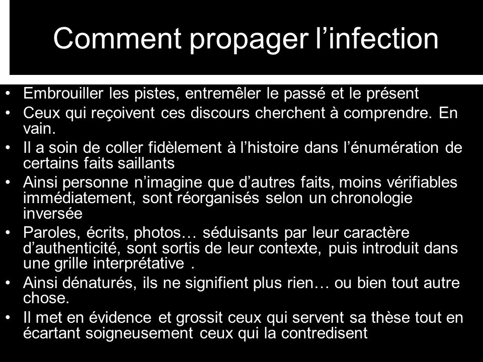 Comment propager l'infection