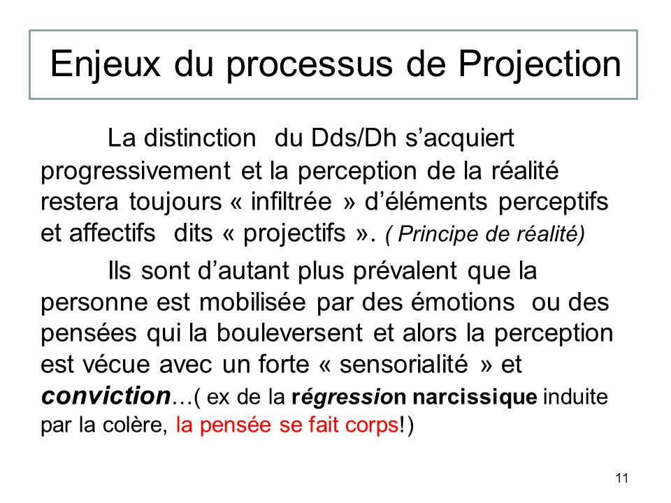 Enjeux du processus de Projection