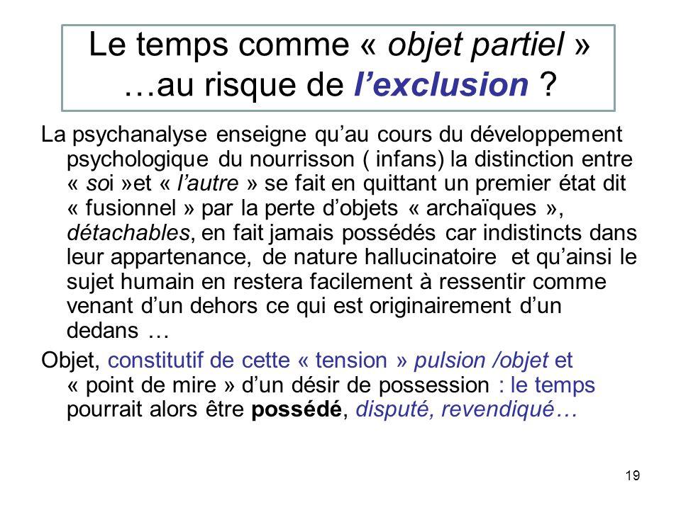 Le temps comme « objet partiel » …au risque de l'exclusion