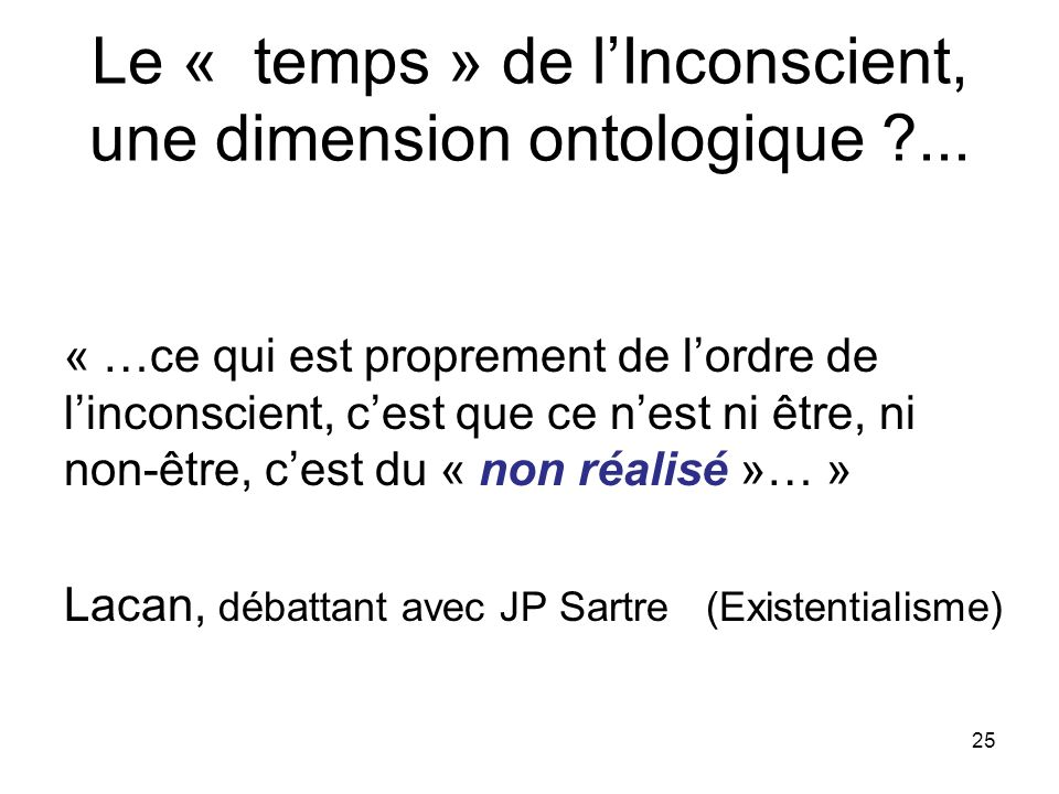 Le « temps » de l'Inconscient, une dimension ontologique ...