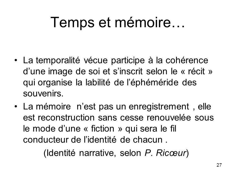 Temps et mémoire…
