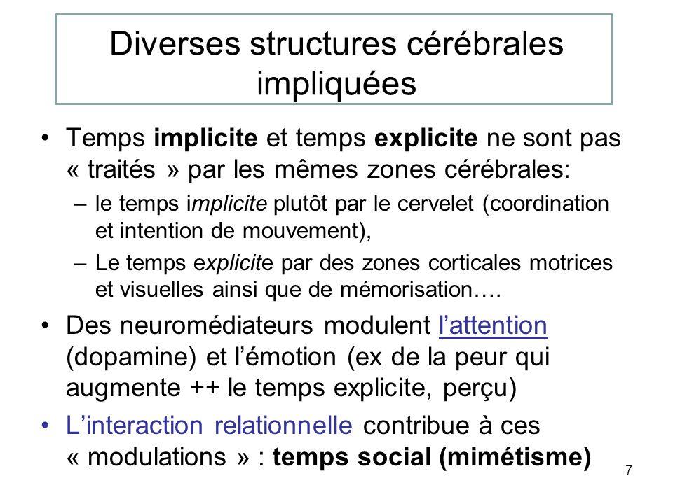 Diverses structures cérébrales impliquées