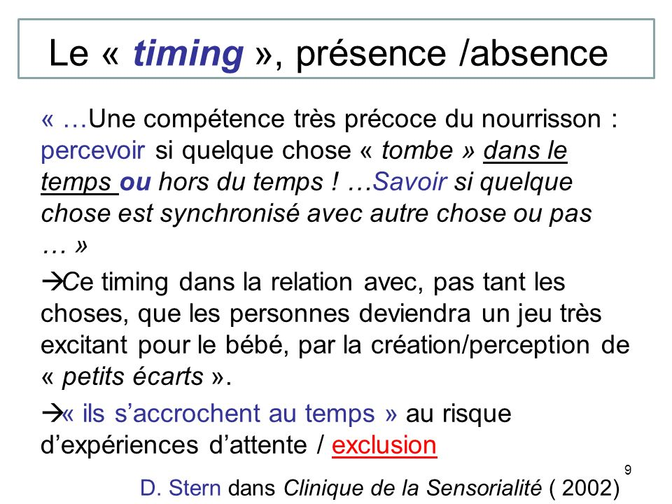 Le « timing », présence /absence