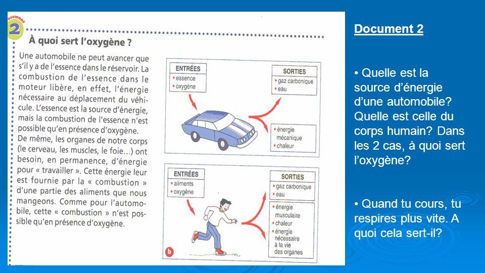 Document 2 Quelle est la source d'énergie d'une automobile Quelle est celle du corps humain Dans les 2 cas, à quoi sert l'oxygène