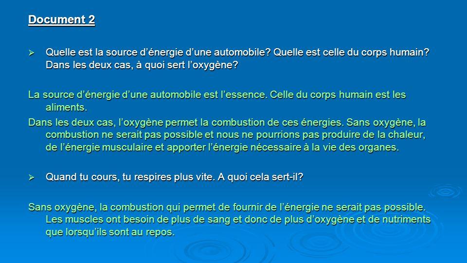 Document 2 Quelle est la source d'énergie d'une automobile Quelle est celle du corps humain Dans les deux cas, à quoi sert l'oxygène