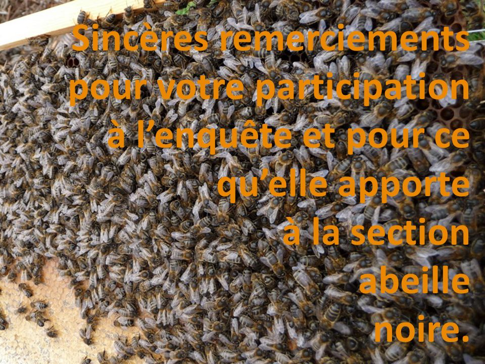 Sincères remerciements pour votre participation à l'enquête et pour ce qu'elle apporte à la section abeille noire.