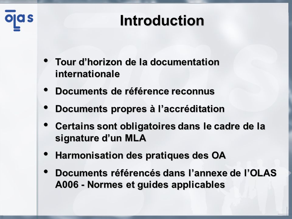 Introduction Tour d'horizon de la documentation internationale
