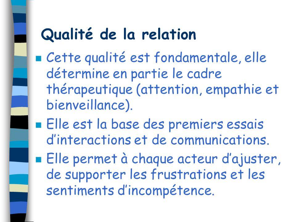 Qualité de la relation Cette qualité est fondamentale, elle détermine en partie le cadre thérapeutique (attention, empathie et bienveillance).