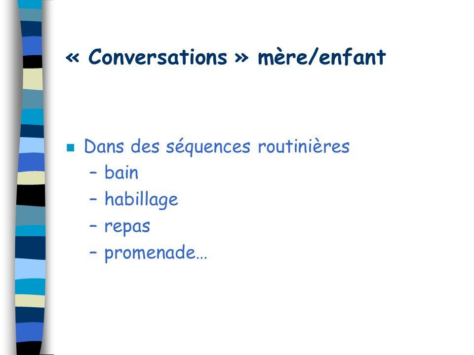 « Conversations » mère/enfant