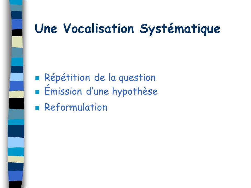 Une Vocalisation Systématique