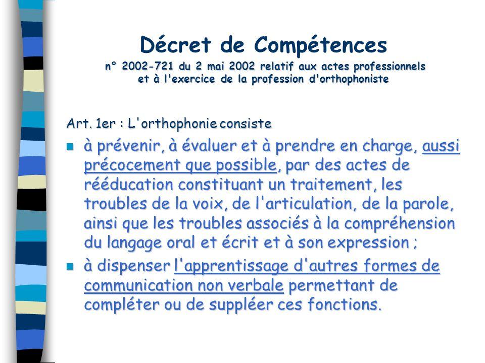 Décret de Compétences n° 2002-721 du 2 mai 2002 relatif aux actes professionnels et à l exercice de la profession d orthophoniste