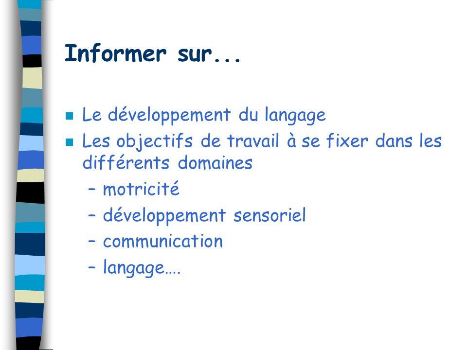 Informer sur... Le développement du langage