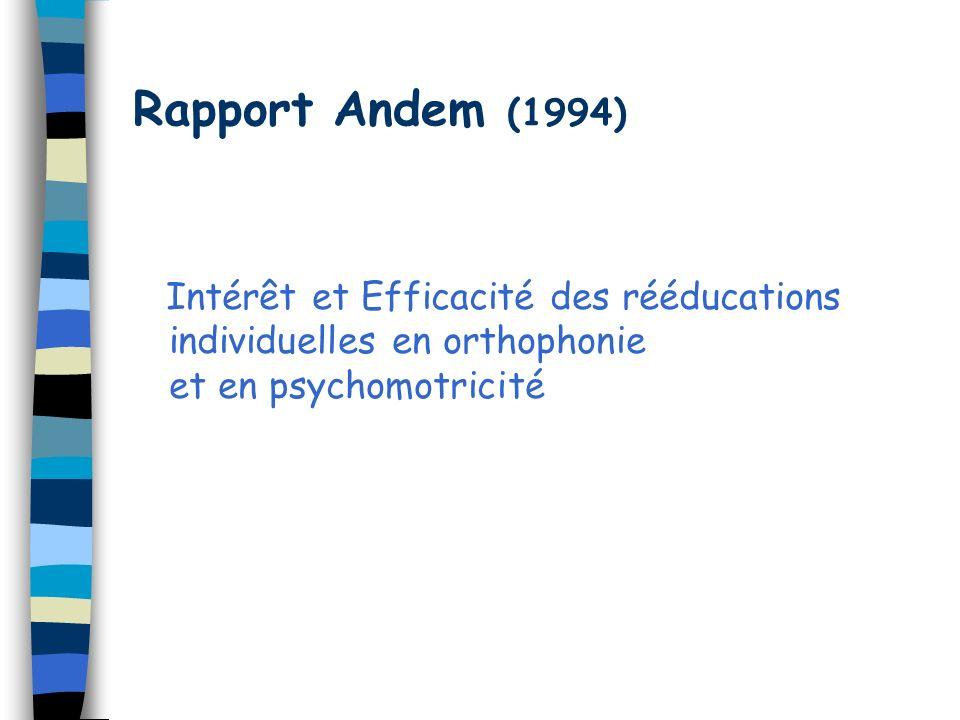 Rapport Andem (1994) Intérêt et Efficacité des rééducations individuelles en orthophonie et en psychomotricité.