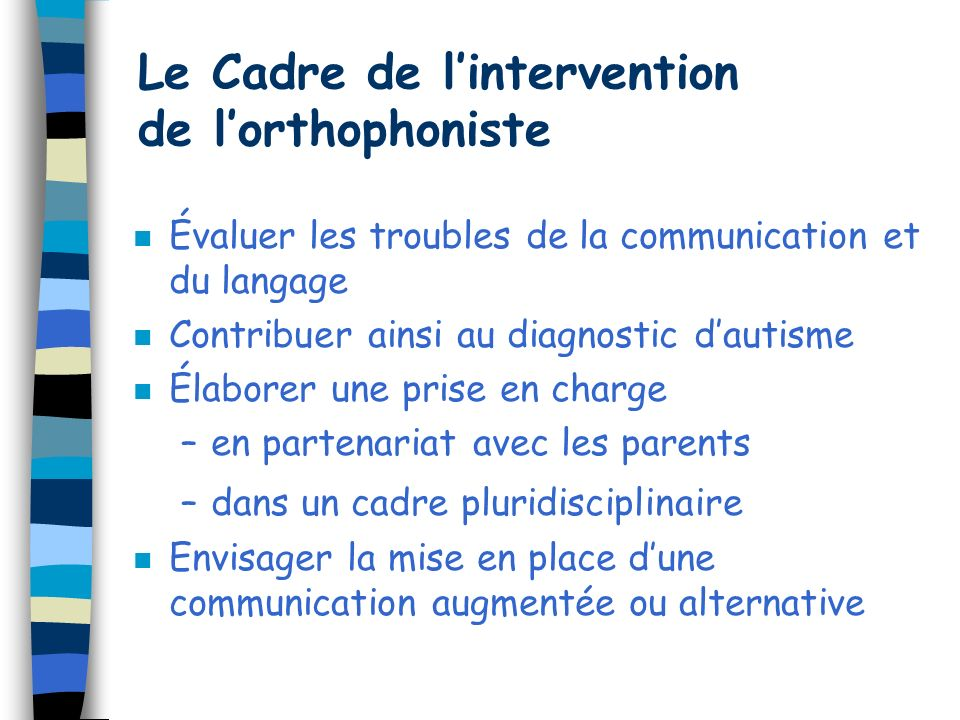 Le Cadre de l'intervention de l'orthophoniste