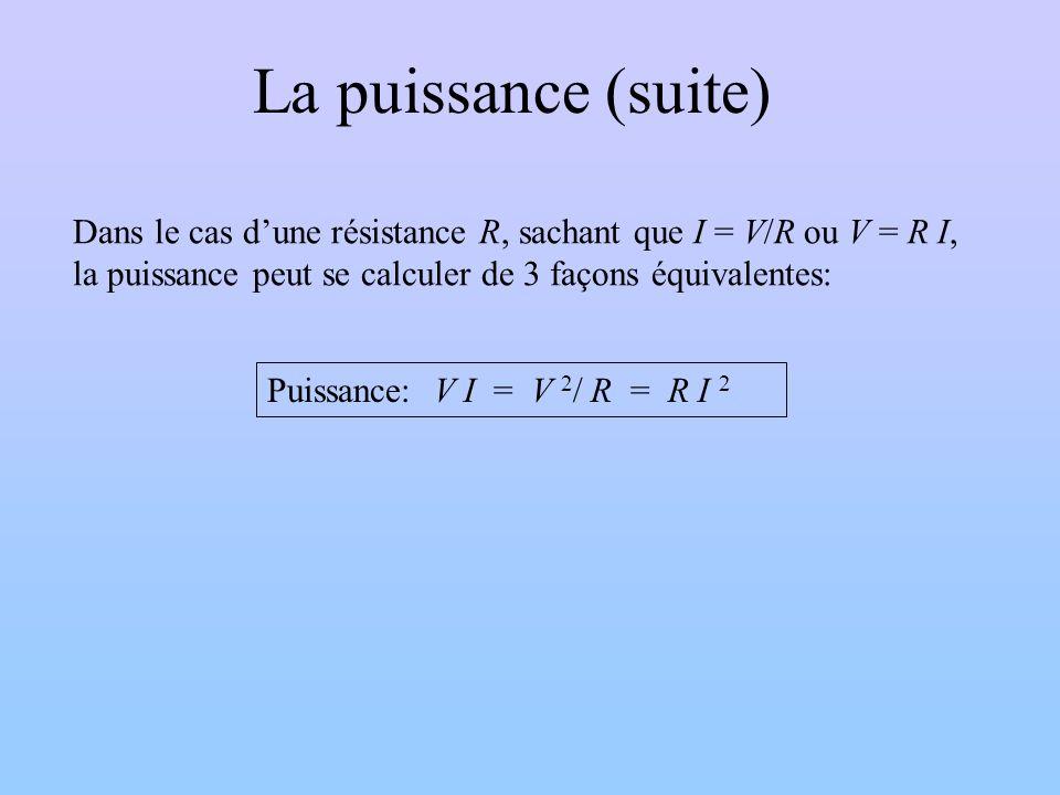 La puissance (suite) Dans le cas d'une résistance R, sachant que I = V/R ou V = R I, la puissance peut se calculer de 3 façons équivalentes: