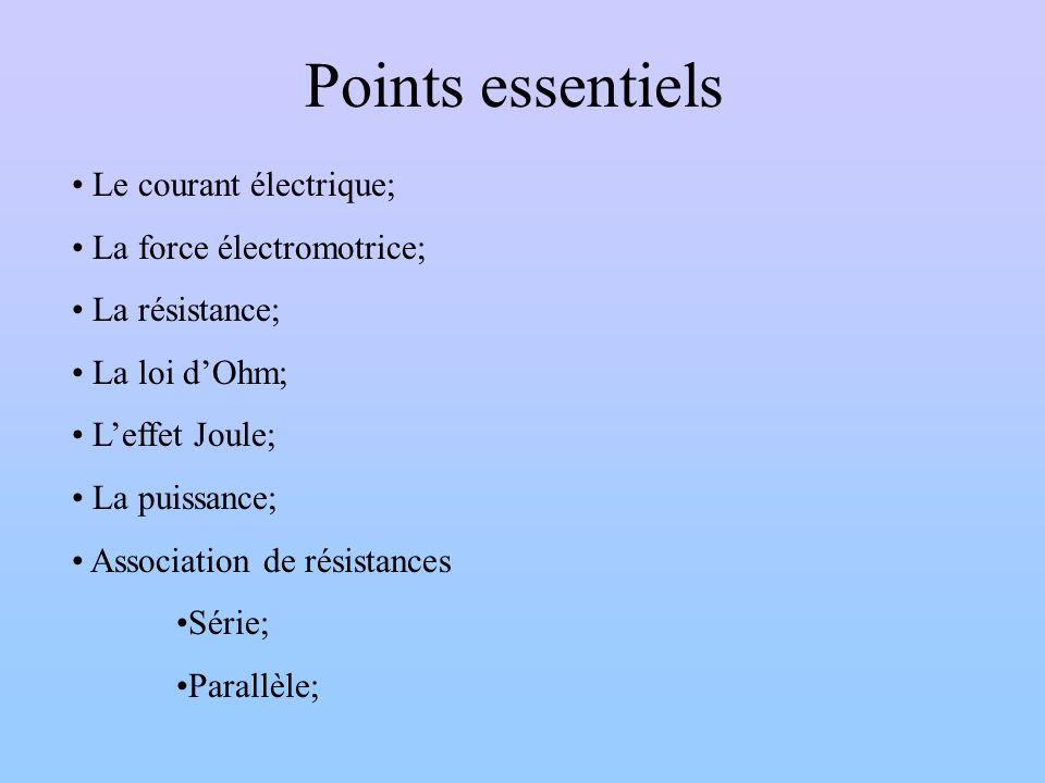 Points essentiels Le courant électrique; La force électromotrice;