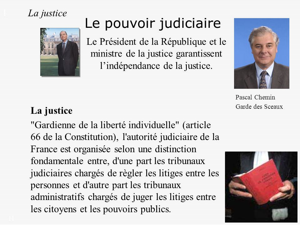 Le pouvoir judiciaire I. La justice