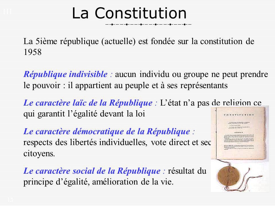 III. La Constitution. La 5ième république (actuelle) est fondée sur la constitution de 1958.